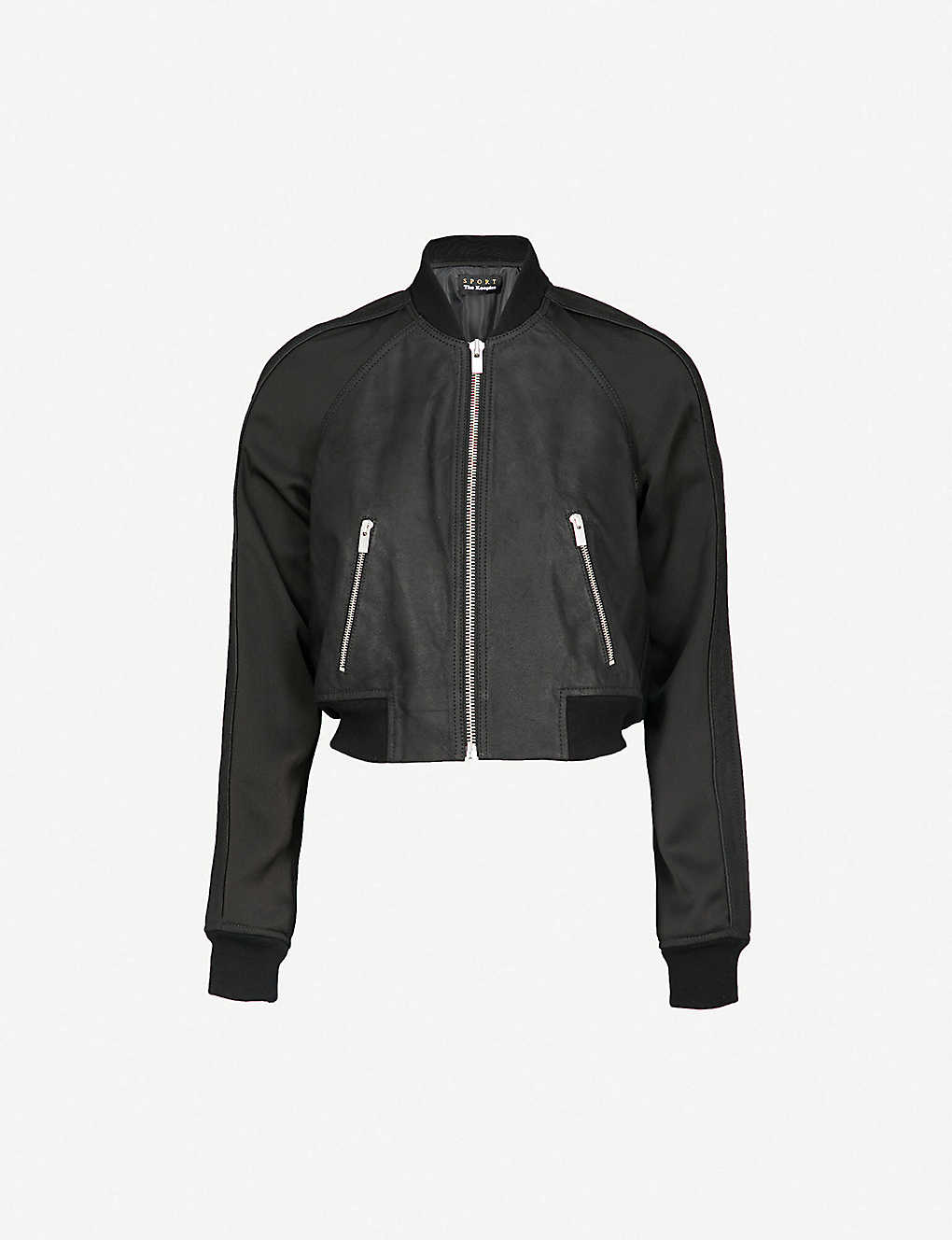 9db64e7ea THE KOOPLES - Cropped leather and crepe bomber jacket | Selfridges.com