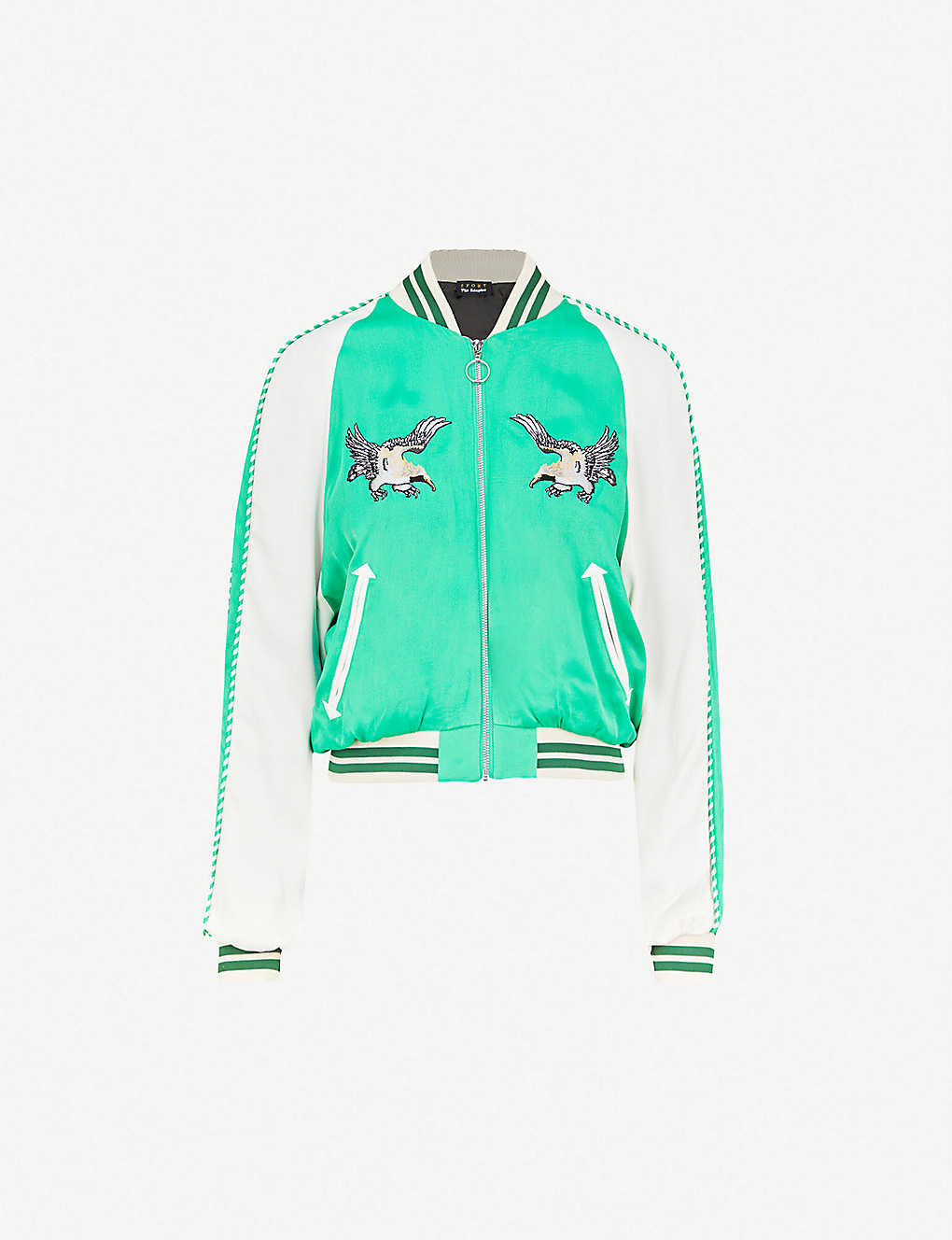 ba392fab9 THE KOOPLES - Eagle-embroidered satin bomber jacket | Selfridges.com