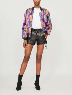 The Kooples HINDU FLORAL-PRINT SILK BOMBER JACKET