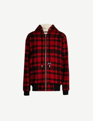 THE KOOPLES Checked wool-blend hooded jacket