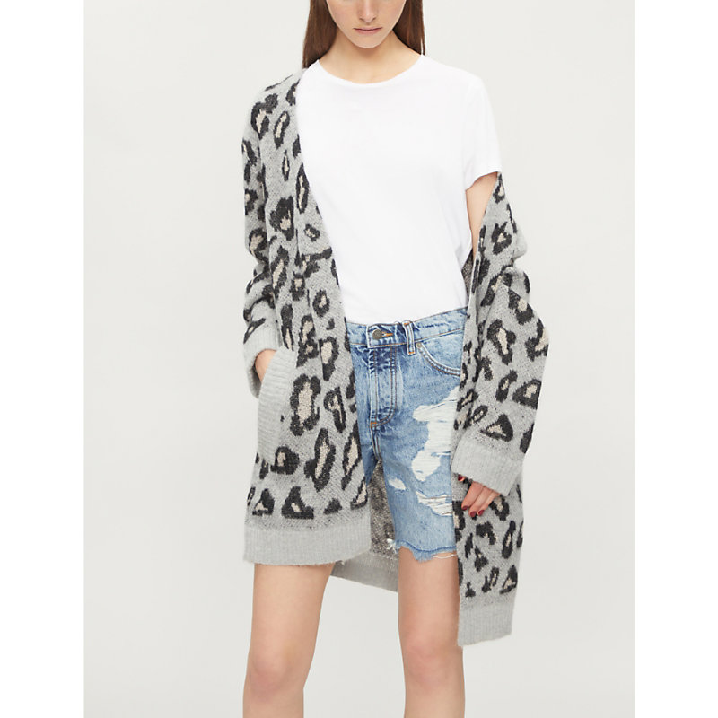 The Kooples LEOPARD-PRINT KNITTED CARDIGAN