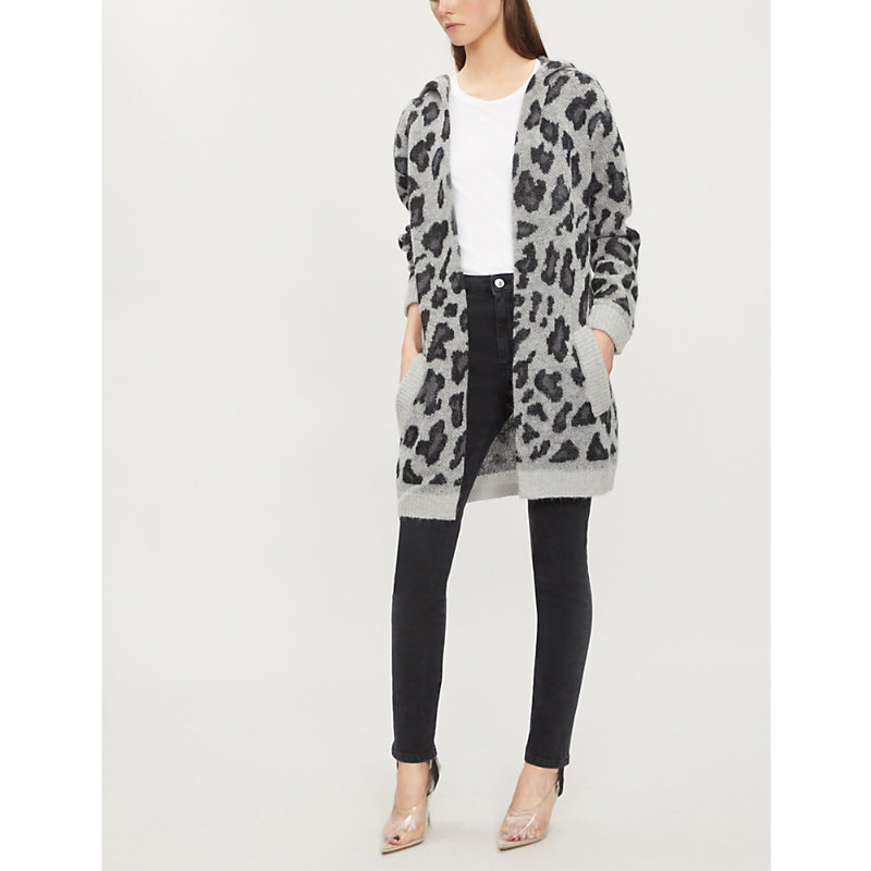 The Kooples LEOPARD-PRINT KNITTED HOODED CARDIGAN