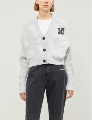 The Kooples FLEUR DE LYS CROPPED WOOL AND CASHMERE-BLEND CARDIGAN
