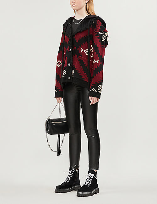 THE KOOPLES Tribal-print fringed wool-blend cardigan