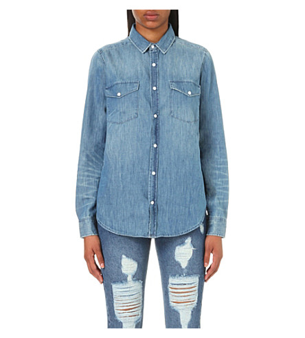 dfd39b5c0a THE KOOPLES Faded-detail denim shirt (Blue+washed