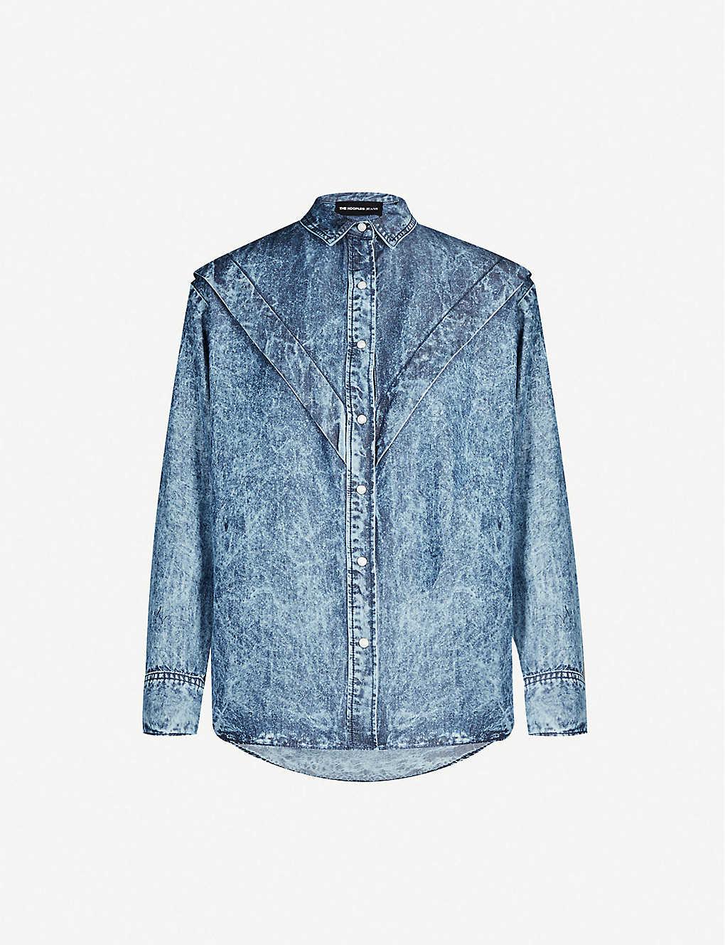 2e5a10b21c THE KOOPLES - Ruffled-trim acid-wash denim shirt | Selfridges.com
