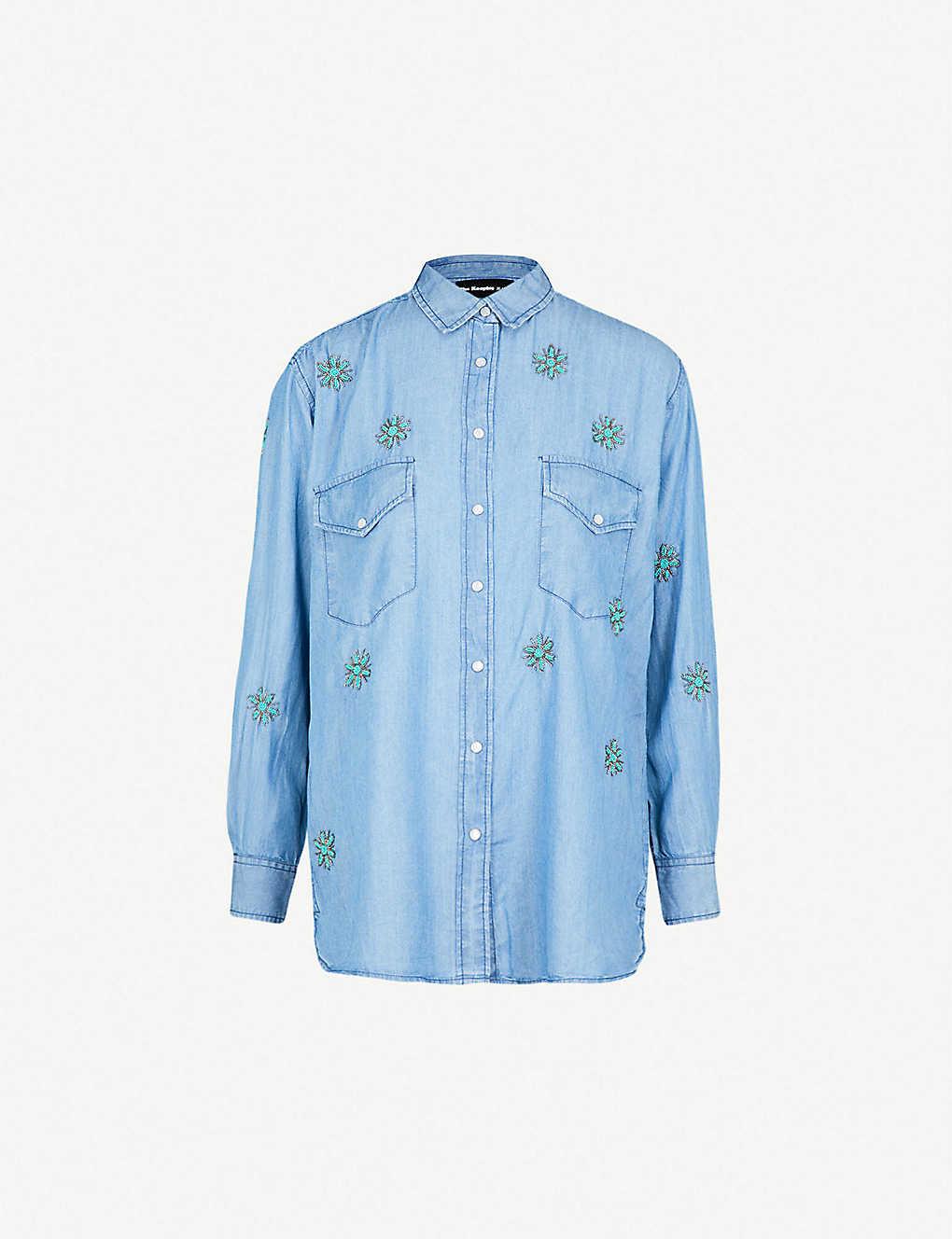 c93bdc72a00 THE KOOPLES - Floral-embroidered denim shirt   Selfridges.com