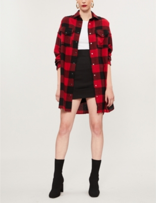 The Kooples CHECKED OVERSIZED WOOL-BLEND SHIRT