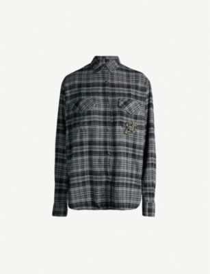 THE KOOPLES Plaid fleur de lys cotton-flannel shirt
