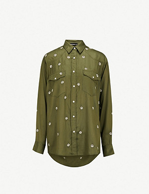 THE KOOPLES Daisy-embroidered woven shirt