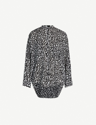 THE KOOPLES Leopard-print crepe shirt