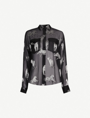 THE KOOPLES Leopard-print sheer georgette shirt