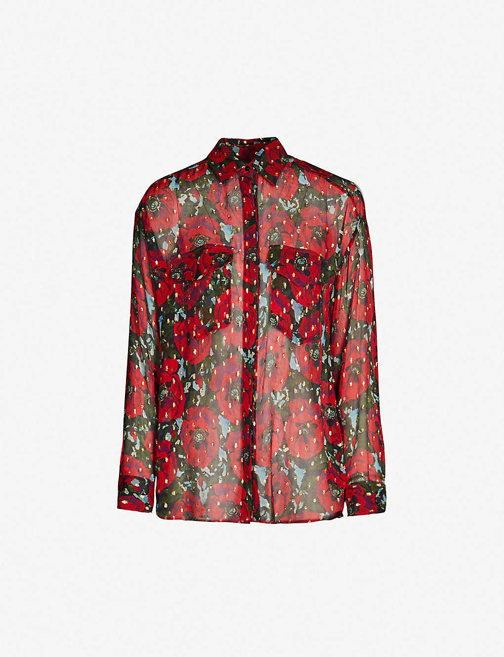 d9bb0fc768d THE KOOPLES - Metallic floral-print silk-georgette shirt ...