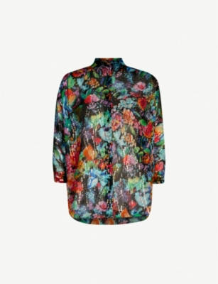 THE KOOPLES Metallic and floral silk-chiffon shirt