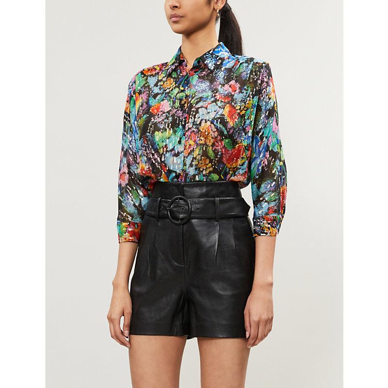 THE KOOPLES   Metallic And Floral Silk-Chiffon Shirt   Goxip
