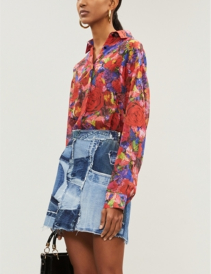 The Kooples Floral-print silk-georgette shirt
