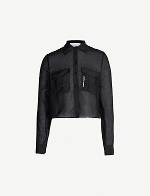 THE KOOPLES Cropped cotton and silk-blend shirt
