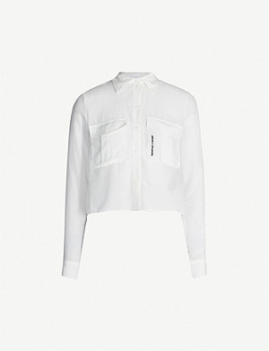 THE KOOPLES Croppped cotton and silk-blend shirt