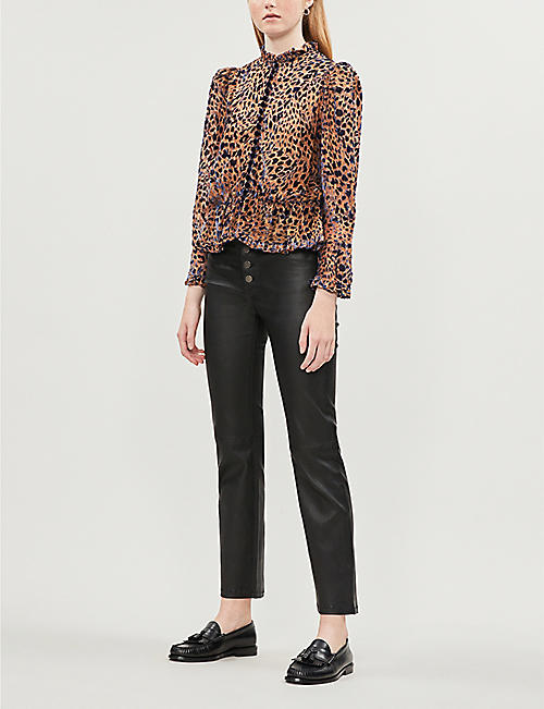 THE KOOPLES Leopard-print devore blouse