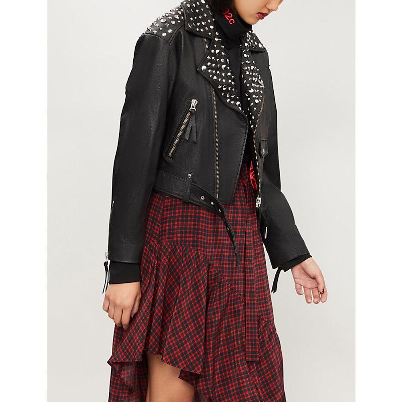 Stud-Embellishment Leather Jacket, Bla01