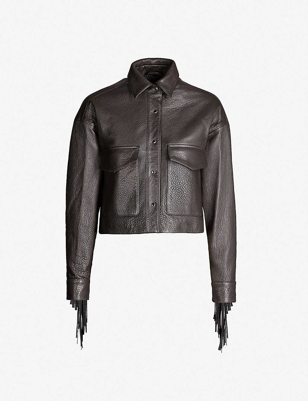 201e6c1d5 THE KOOPLES - Tassel-trimmed cropped leather jacket | Selfridges.com