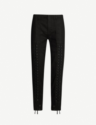 THE KOOPLES Drawstring-waistband laced stretch-cotton trousers