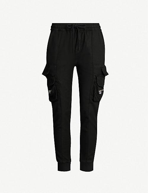 e71007f83a THE KOOPLES Pocket embellished mid-rise linen-blend jogging bottoms
