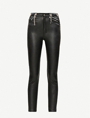 THE KOOPLES Chain-embellished faux-leather jeans