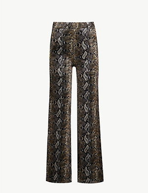 THE KOOPLES Snakeskin-print high-rise velour trousers
