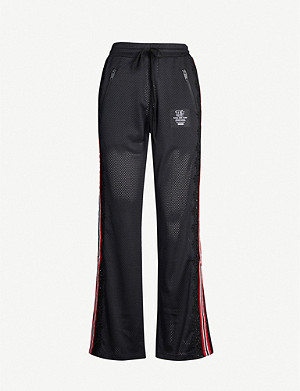 THE KOOPLES Relaxed-fit perforated striped-side stretch-jersey jogging bottoms