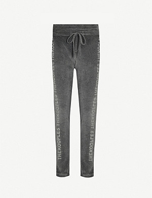 THE KOOPLES SPORT Lace-panelled velour jogging bottoms
