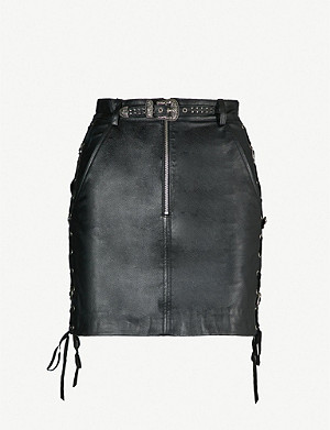 THE KOOPLES Lace-up belted leather skirt