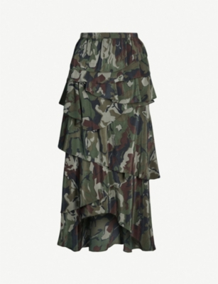 THE KOOPLES Camouflage-print tiered-ruffle silk-crepe skirt