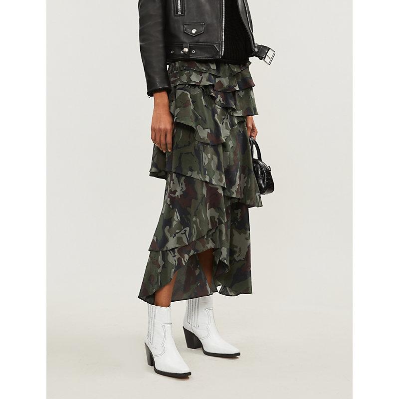 THE KOOPLES   Camouflage-Print Tiered-Ruffle Silk-Crepe Skirt   Goxip