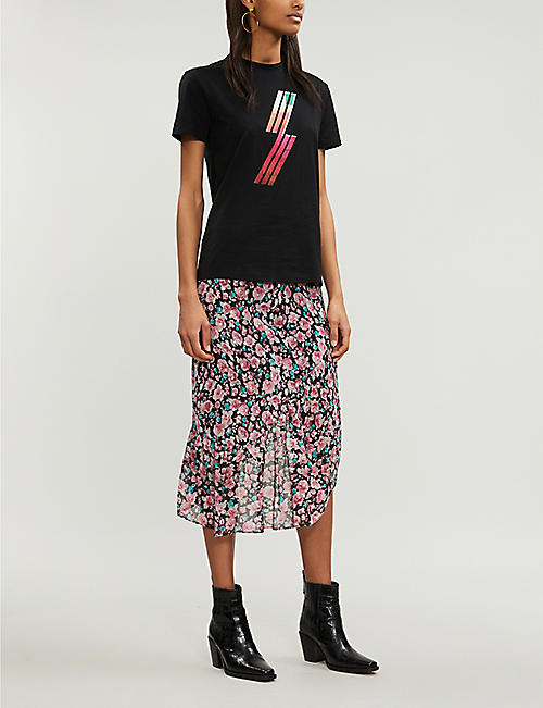 a0075bbb02be0c THE KOOPLES Asymmetrical floral-print woven skirt. Quick Shop