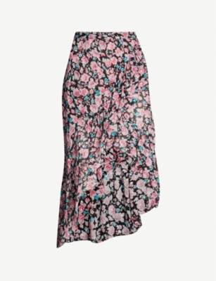 THE KOOPLES Asymmetrical floral-print woven skirt