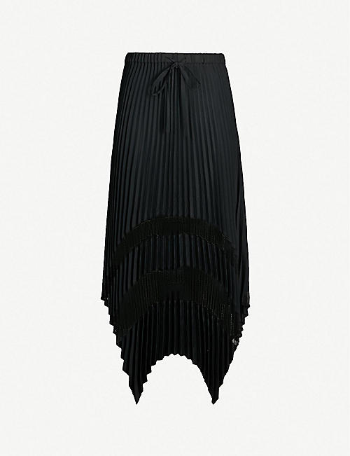 a16a041e207 THE KOOPLES Lace-panel pleated crepe skirt