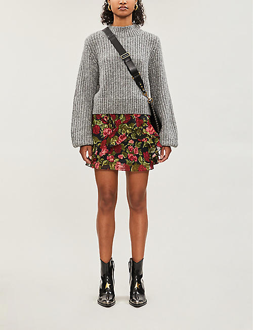 THE KOOPLES Floral-print silk-fil coupé skirt