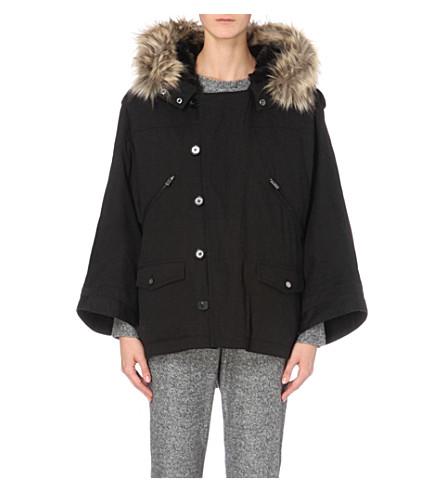 9561d5eaeea0 THE KOOPLES Faux fur-trim cotton-canvas parka coat (Black