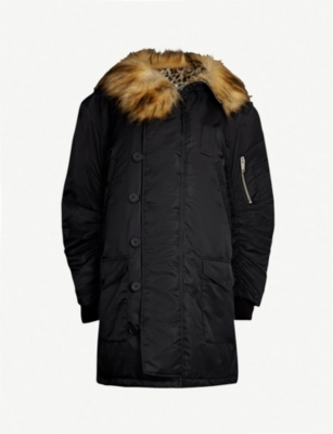 THE KOOPLES Faux-fur trimmed shell hooded parka coat