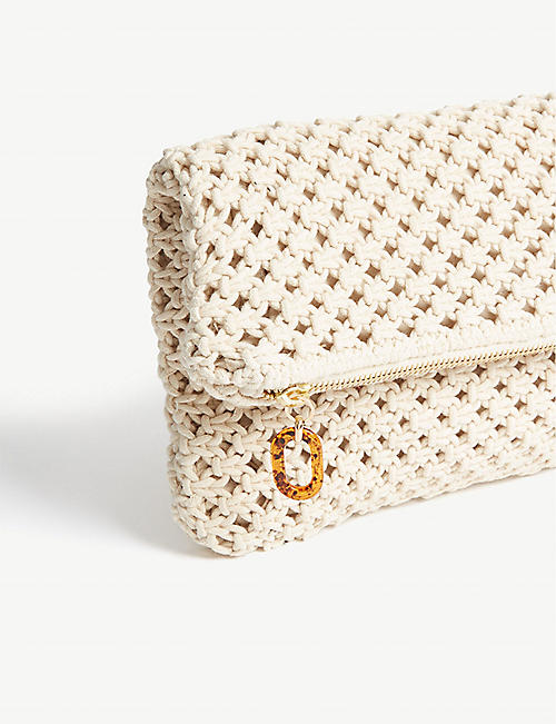 THE KOOPLES Fold-over cotton clutch bag
