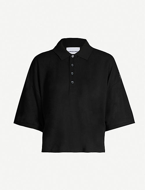 THE KOOPLES Floral-lace trimmed cotton-blend polo shirt