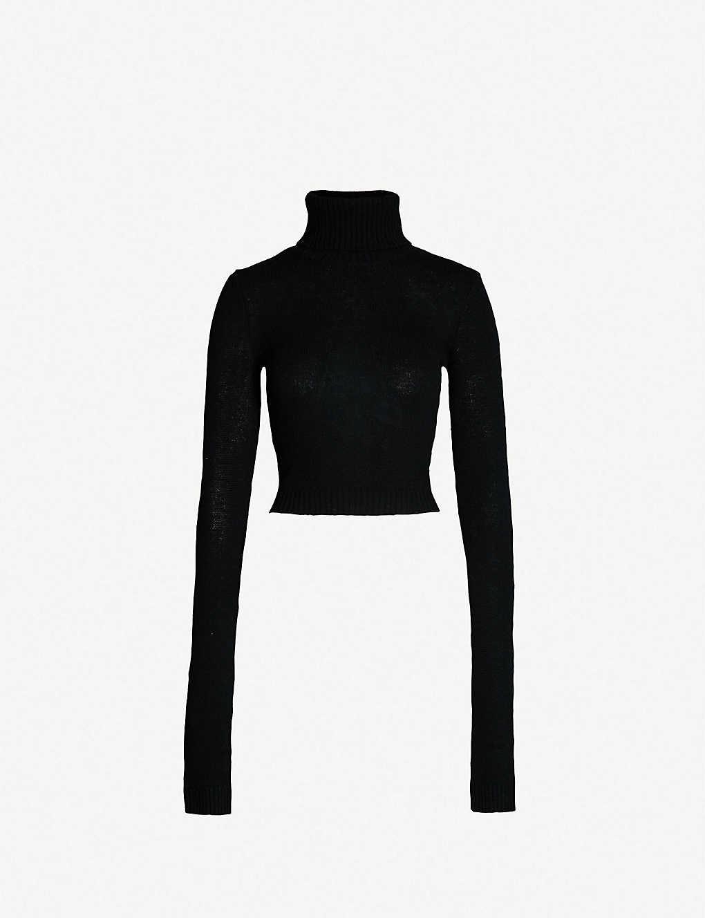 521ceb987feb6c THE KOOPLES - Roll-neck cropped wool-cashmere jumper | Selfridges.com