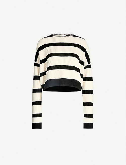 51f3c722e7b THE KOOPLES Striped chain-embellished cotton-knit jumper