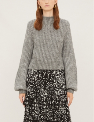 High Neck Cropped Wool Blend Jumper by The Kooples