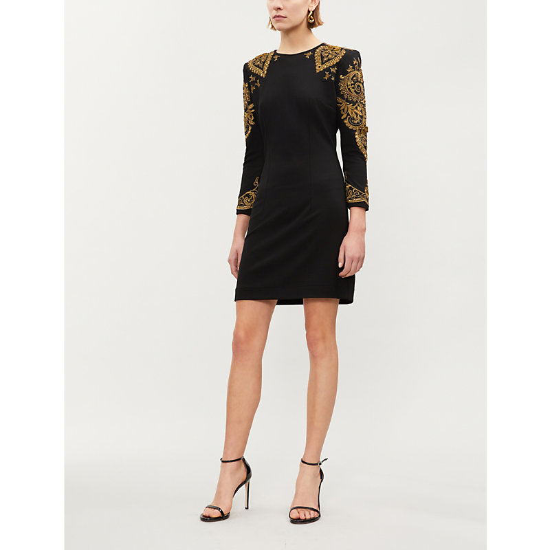 THE KOOPLES EMBELLISHED SILK-GEORGETTE MINI DRESS