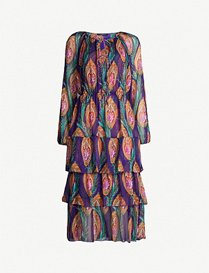THE KOOPLES Tiered printed silk midi dress