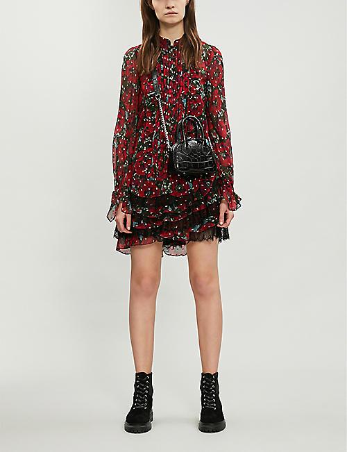 e4c5f035c THE KOOPLES Lace ruffle trim floral silk-blend dress