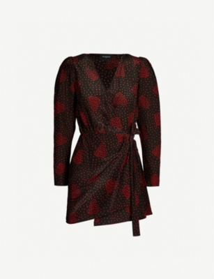 THE KOOPLES Heart print silk crepe wrap dress