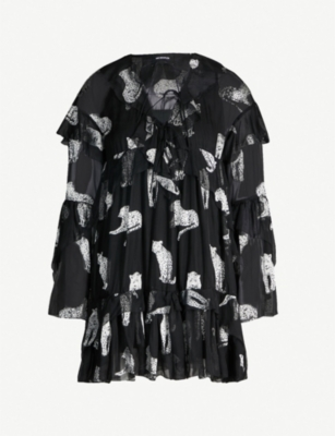 THE KOOPLES Leopard devoré ruffled mini dress
